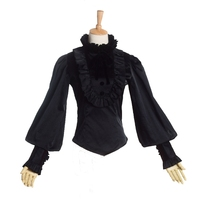 Vintage Women Gothic Victorian Blouse Steampunk Period Lolita Lantern Sleeve Stand Collar Ruffles Reenactment Shirt Tops