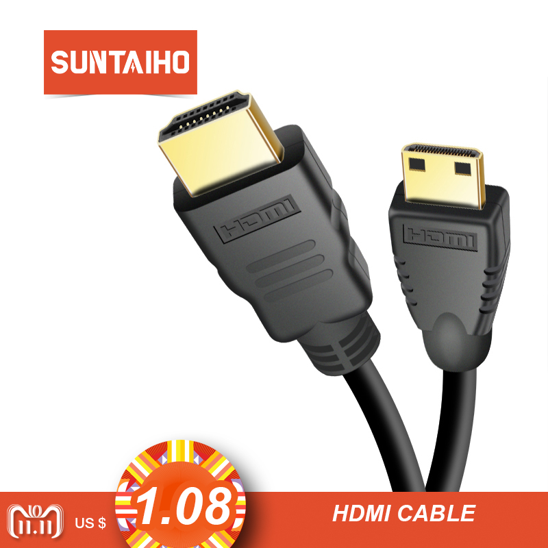 Suntaiho Mini HDMI to HDMI Cable 1m 2m 3m 5m 10m Male to Male High Speed HDMI Cable 4K 3D 1080P for Tablet Camcorder MP4 DVD new 1 4 version 3d hdmi male to male av audio video flex ribbon short cable 0 2m 0 5m 1m