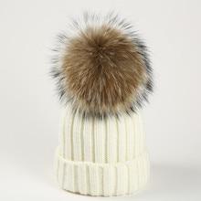 DXHKDYZ 2017 Winter & Winter Raccoon Hair Wool Hat women's hat thick winter warm knitted hat