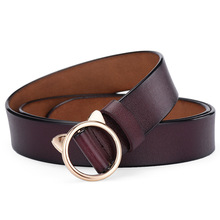 New Gold Round Cat Ear Metal Buckle Women Solid Fashion  Casual Shape PU Leather Waist Belts For Jeans Pants Strap