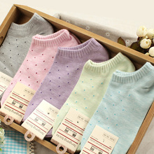 Hot sale!1lot=10pcs=5pair cotton socks cute polka dot women socks soft candy invisible short socks hosiery female Wholesale