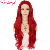 Lvcheryl Hand Tied Long Red Natural Wave Fully Hair Wigs Heat Resistant Fiber Synthetic Lace Front Wig Cosplay& Drag Queen