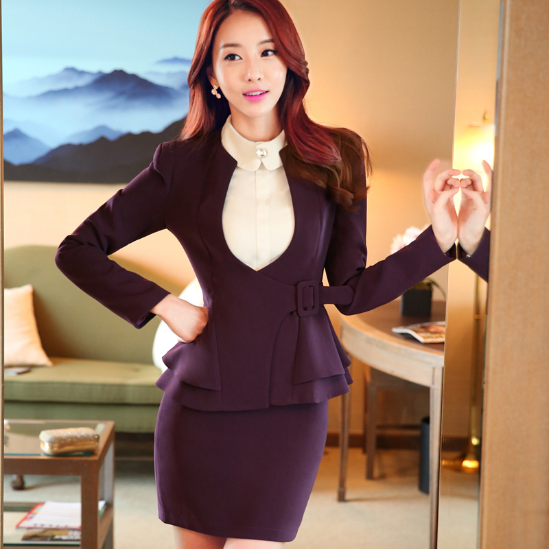 3174a323202 New Autumn fashion women ruffles skirt suits career OL blazer   skirt office  coat Jacket plus size 3XL 2 piece sets