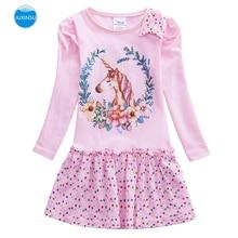 JUXINSU Girls Unicorn Cartoon Cotton Long Sleeve Lovely Dresses Wavelet Point Dress Autumn Winter for Baby Girl 1-7 Years