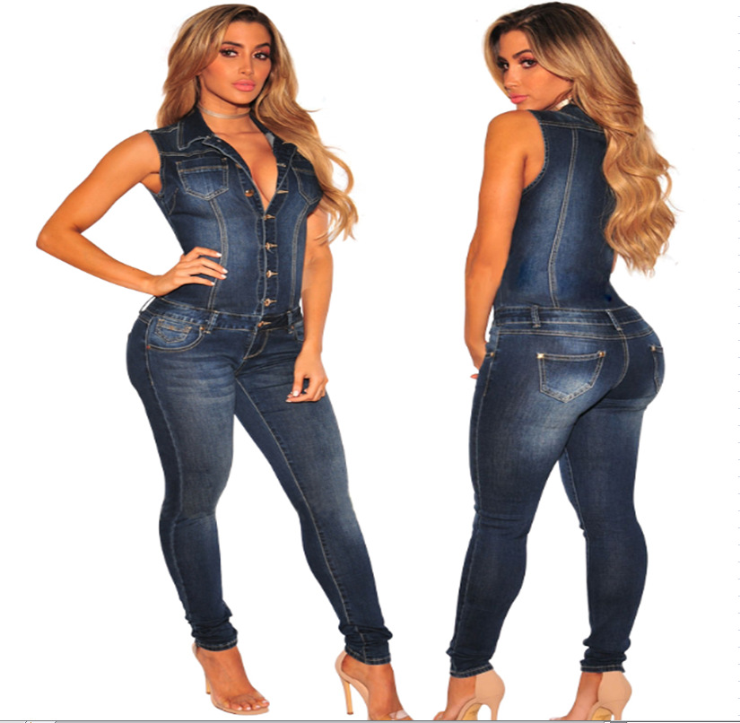 Slim figure jeans slim slimming jumpsuit sleeveless conjoined fashion jeans