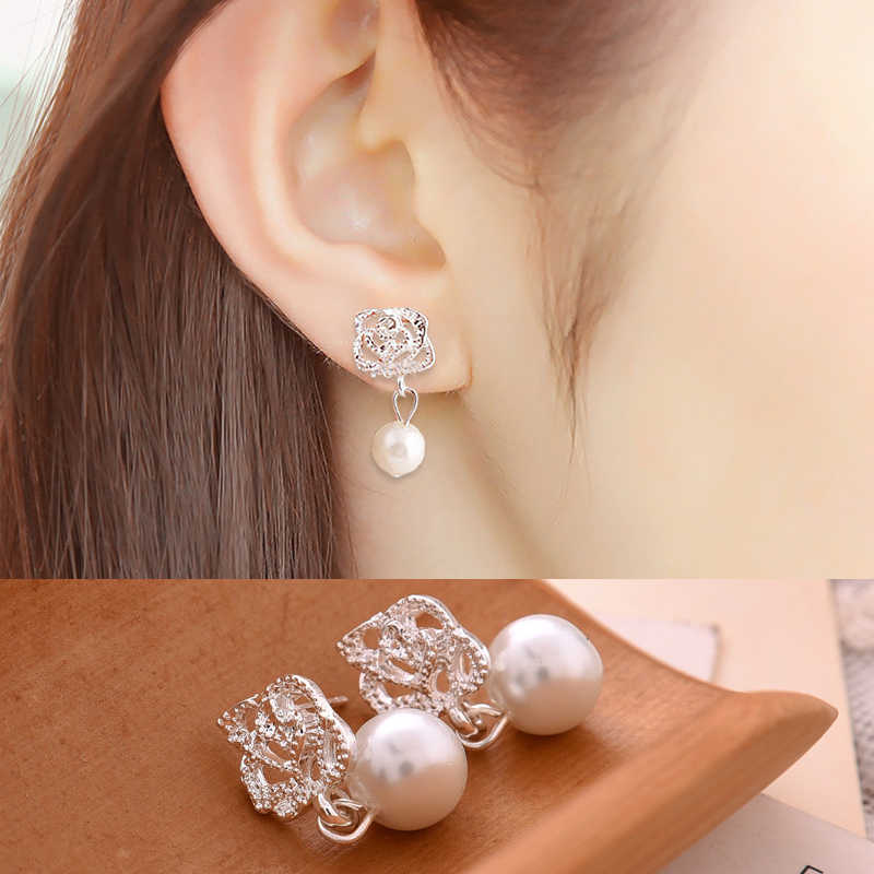 Fashion 1Pair Hot Camellia Rose imitation pearl earrings female jewelry Trendy Ear Studs Wedding Engagement Earrings Gift