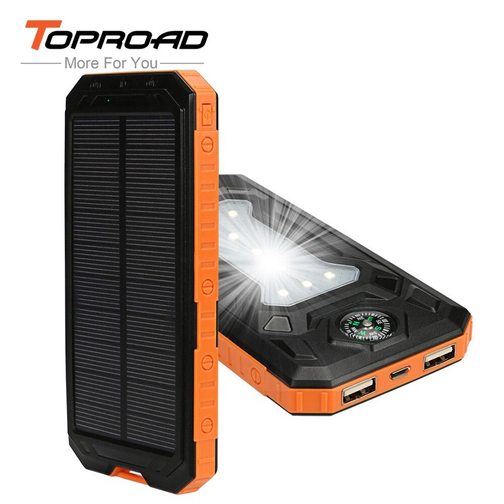 imágenes para Solar portátil Banco de la Energía 10000 mAh Dual USB LED Luz Powerbank Cargador de Batería de Reserva Externa para Los Teléfonos Móviles de Camping