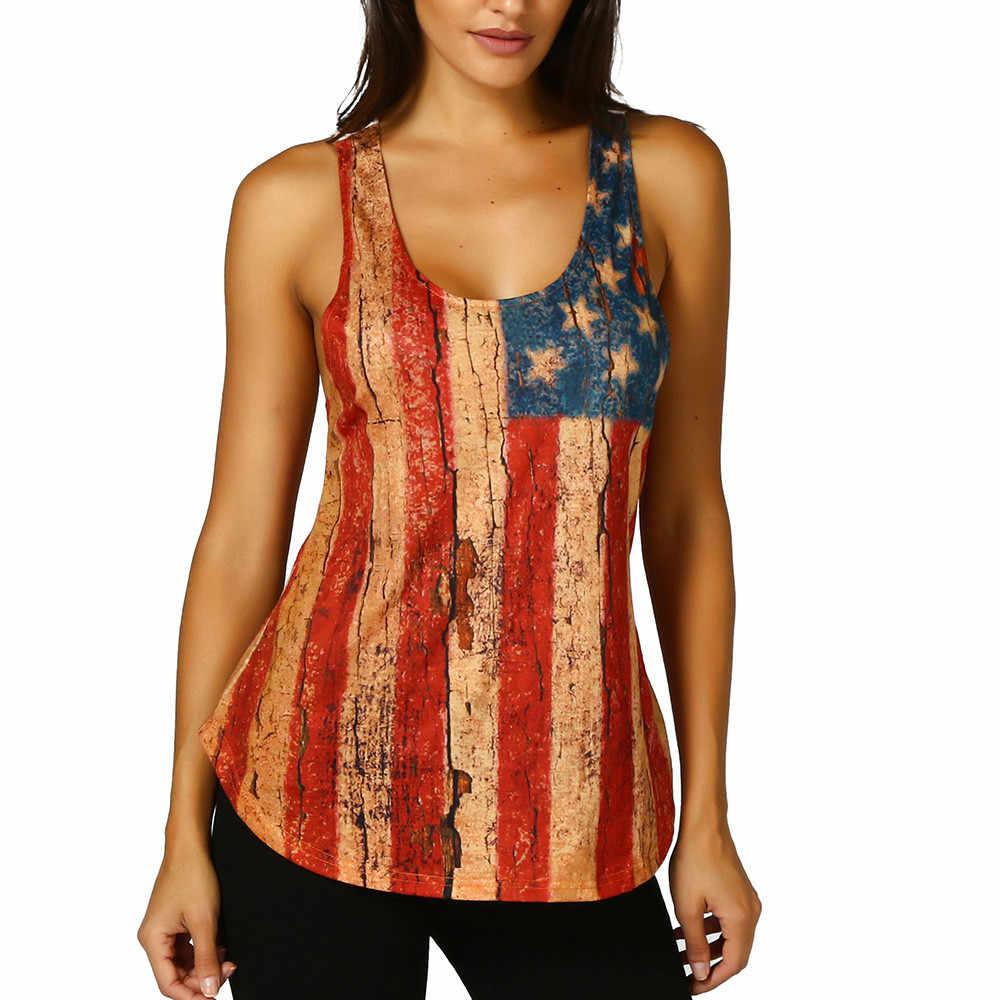 Kobiety koronki bez rękawów American Flag Tank Tops Casual bluzka T Shirt