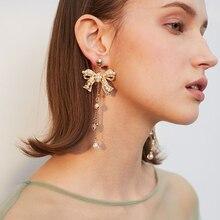 Bow pearl Women pendant earrings large size Korea long Soft metallic tones Luxury jewelry