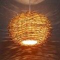 Плетеная Подвесная лампа ручной работы  деревянное Птичье гнездо  бар  ресторан  столовая  спальня  гостиная  веранда  подвесной светильник
