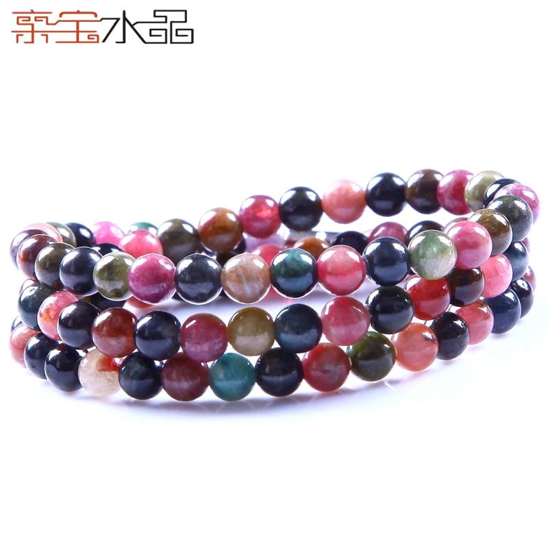 Cristal multi-couche tourmaline bracelet femelle de naturel tourmaline collier accessoires collier court conception