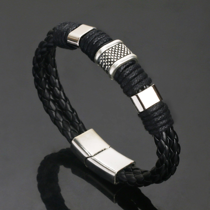 NIUYITID Vintage Genuine Leather Bracelet Men Magnetic Buckle Alloy Braided Rope Male Man Bracelets Accessories Jewellery