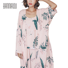 c4b17661ac4 Woman Pajama Set Leaves Printing Full Pink Female Robe Camisole Pants  Spring Autumn 2018 Home Wear Clothing Pyjama 3 Pieces Suit
