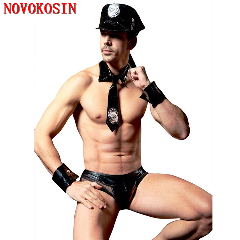 XB11 4 Pieces 2018 New Faux Leather Policemen Fancy <font><b>Halloween</b></font> Tie Top With Panties Outfit <font><b>Men</b></font> Black <font><b>Sexy</b></font> Police Cosplay Costumes image