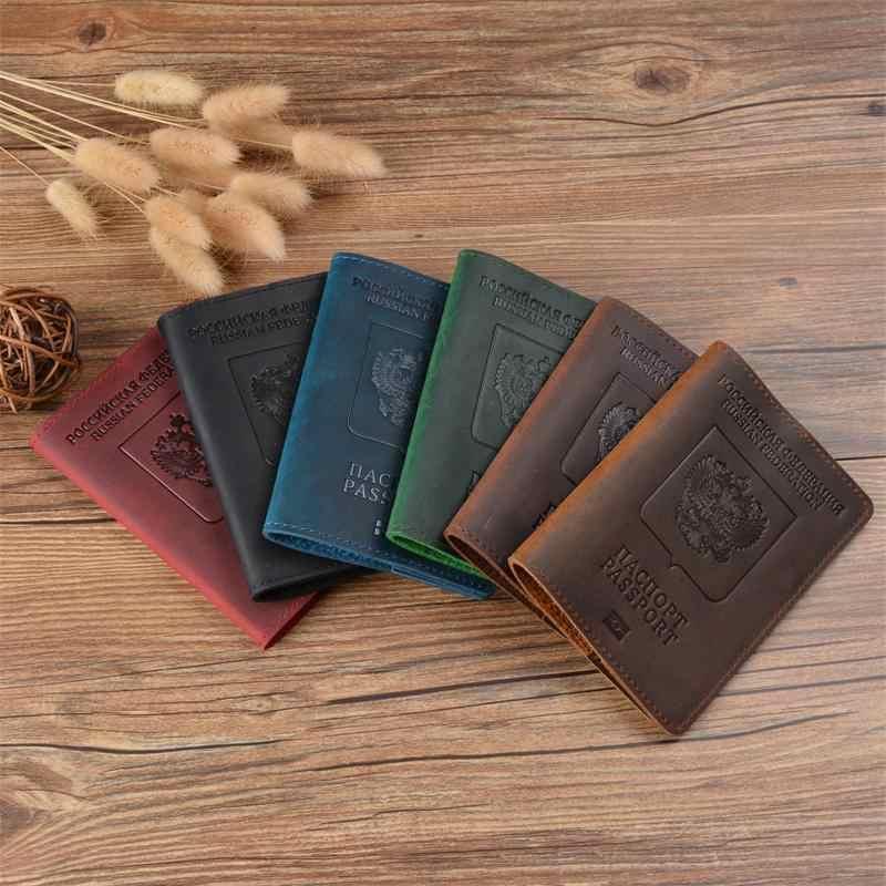 c2ff08395ee4 GENODERN Vintage Passport Cover for USA Passport Crazy Horse Leather ...
