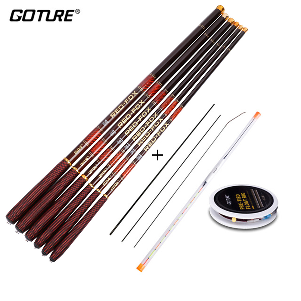 Goture Carbon Fiber Telescopic Fishing Rod Kit 3.0-7.2M Stream with Spare Tips, Float Rig Set vara de pesca