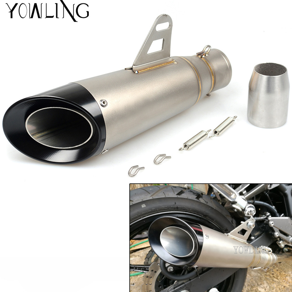 Universal Inlet 35-51mm Modified Motorcycle Exhaust Pipe Muffler Exhaust Mufflers Stainless Steel Exhaust good sound motorcycle exhaust pipe modified exfoliate gatling gun style can rotate motorbike scooter exhaust end pipe mufflers