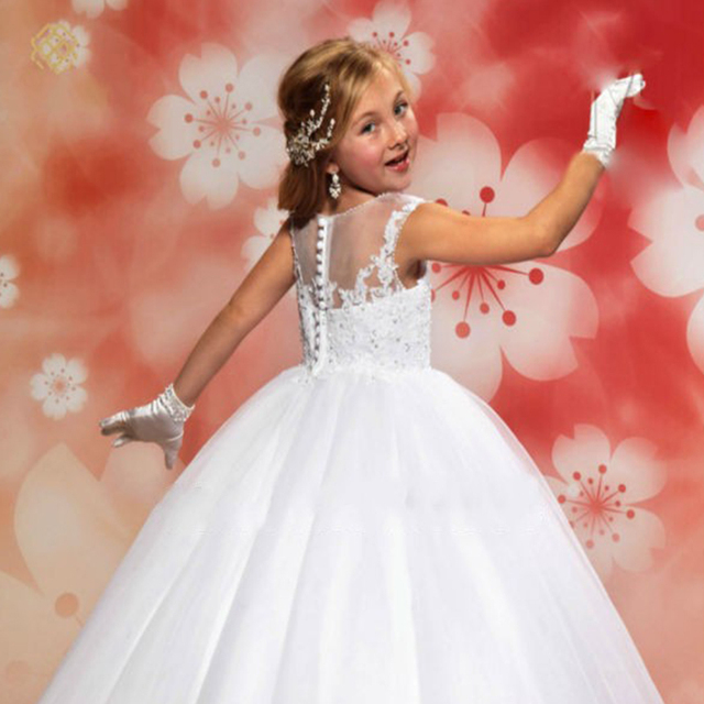 White Lace Flower Girls Dresses Long Ball Gown for Pageant First Communion Wedding Party