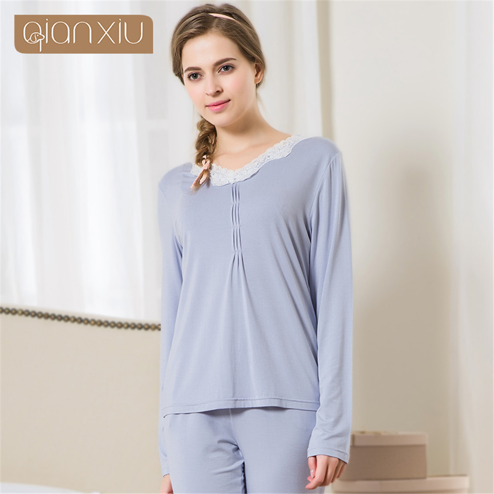 2017 ladies long sleeve pajamas set set cotton Long cotton sleep shirts