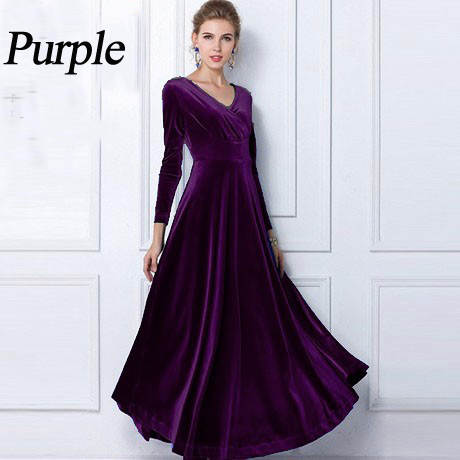 527e07f6453 TingYiLi Winter Women Plus Size Velvet Dress Long Sleeve Maxi Dress Evening  Party Vintage Dress Black