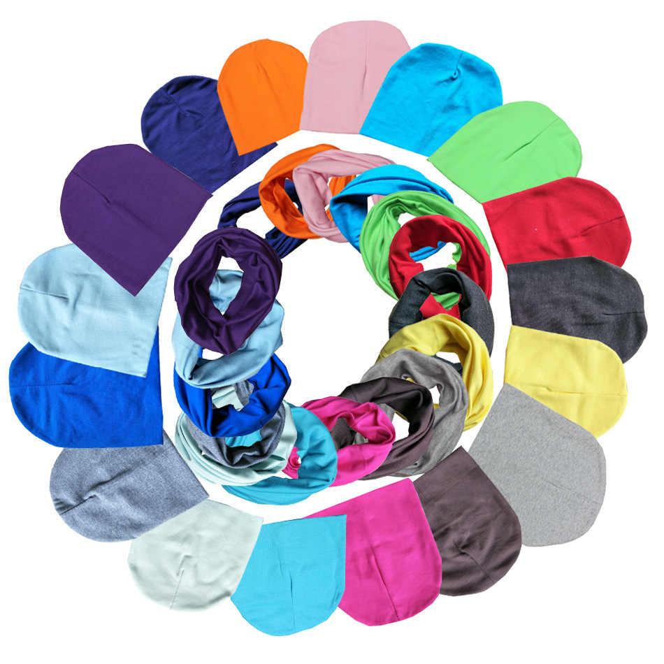 Nuevos collares de anillo de algodón de color sólido para bebés conjuntos de sombreros para niños y niñas