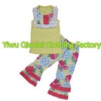 Großhandel Vintage Stil baby outfits rüschen hosen 2 stücke kleidung mädchen kleidung