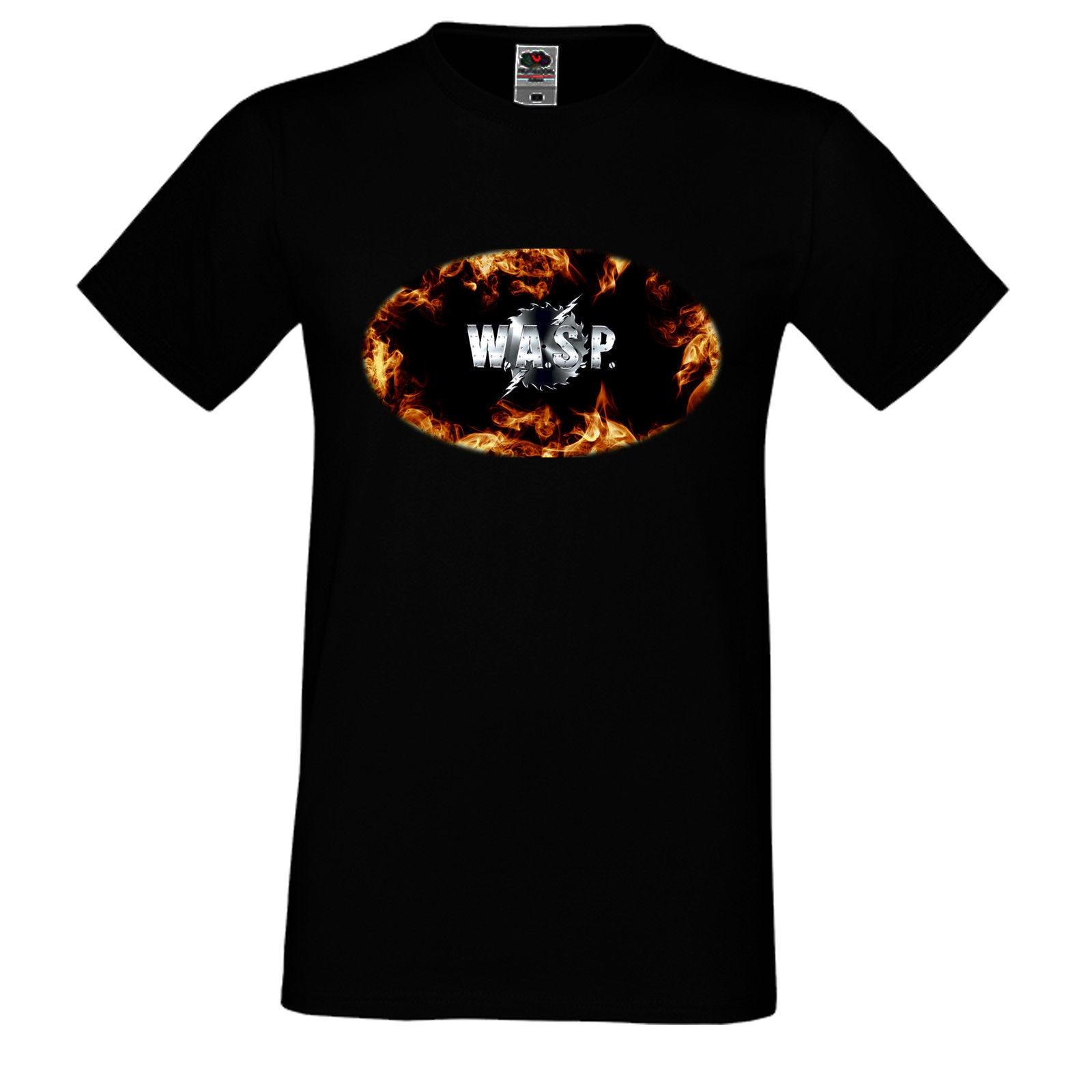 HERREN/MEN T-SHIRT W.A.S.P. WASP 2 FIRE HEAVY METAL LANGARM/KURZARM