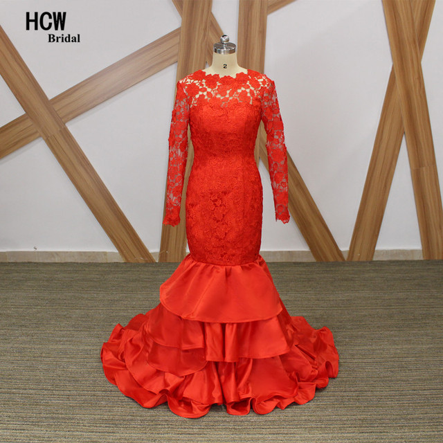 Mermaid Red Evening Dress 2019 Backless Long Sleeve Lace Satin Tiered  Arabic Prom Gowns Floor Length Long Formal Evening Dresses 7e9f29cd04af