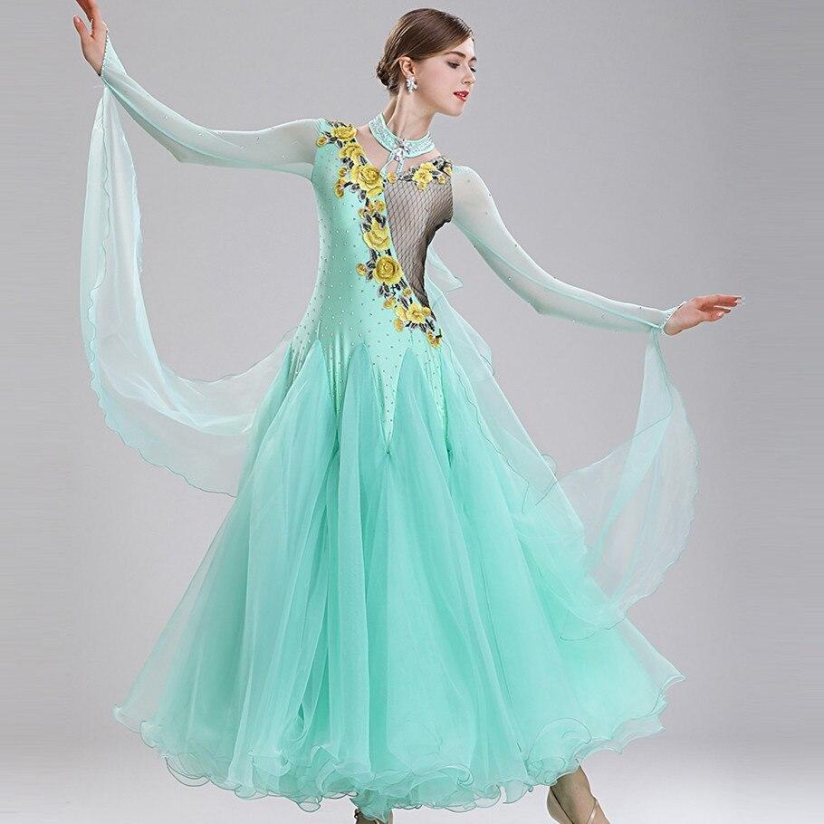 Ballroom Dance Competition Costumes Dancing Dress Standard Ballroom Dress Women Viennese Waltz Dress Foxtrot Dance Dresses Green