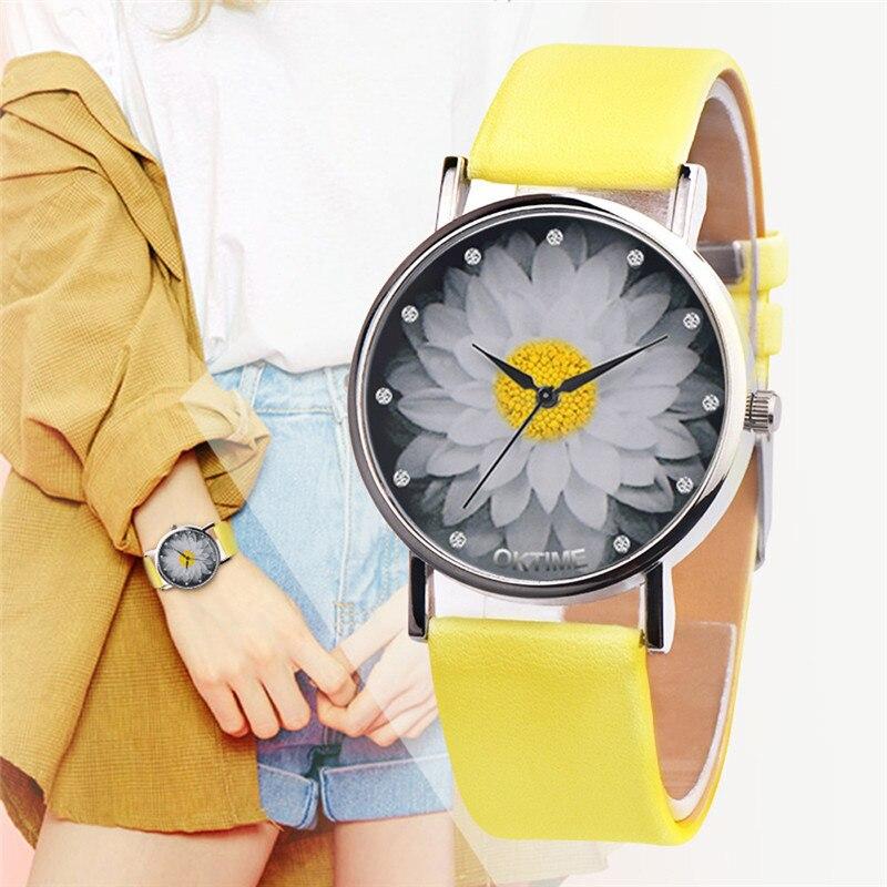 Hot Sale Brand Simple Trend Women Watches Elegant Lotus Print Rhinestone Watch Leather Strap Ladies Quartz Wristwatches Clock #B