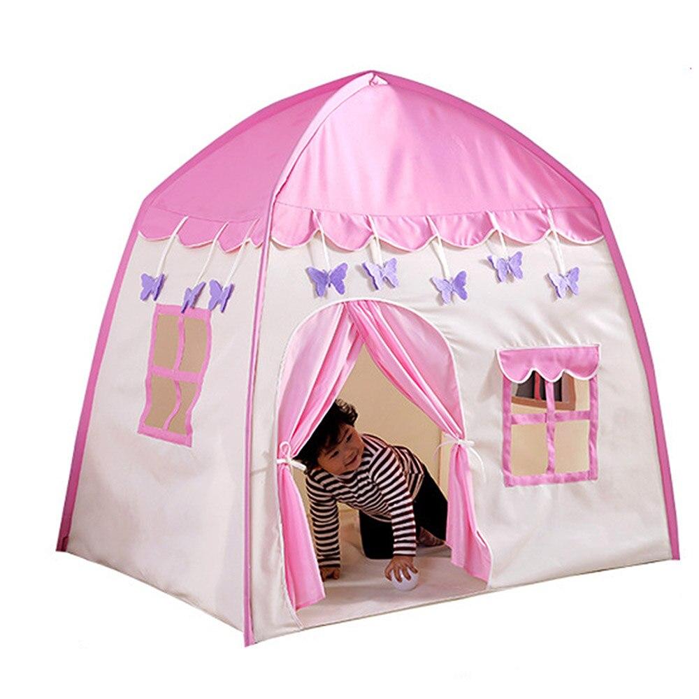 Tente de tipi pour enfants tente de jeu avec tapis enfants auvent en toile Fort pour intérieur extérieur avec sac de transport maison de jeu Portable en rose