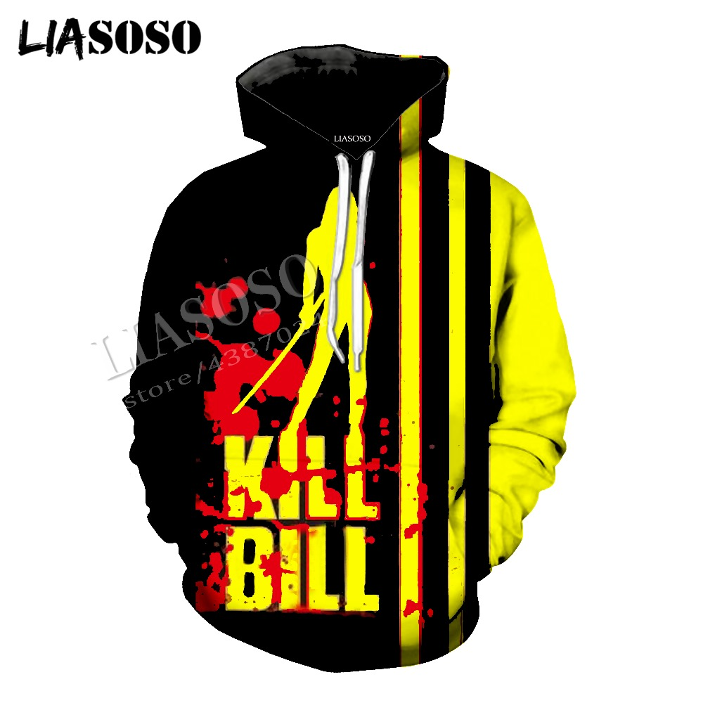 LIASOSO latest 3D printing cozy polyester sportswear set Quentin movie Kill Bill men women violence T shirt hooded shirt CX775