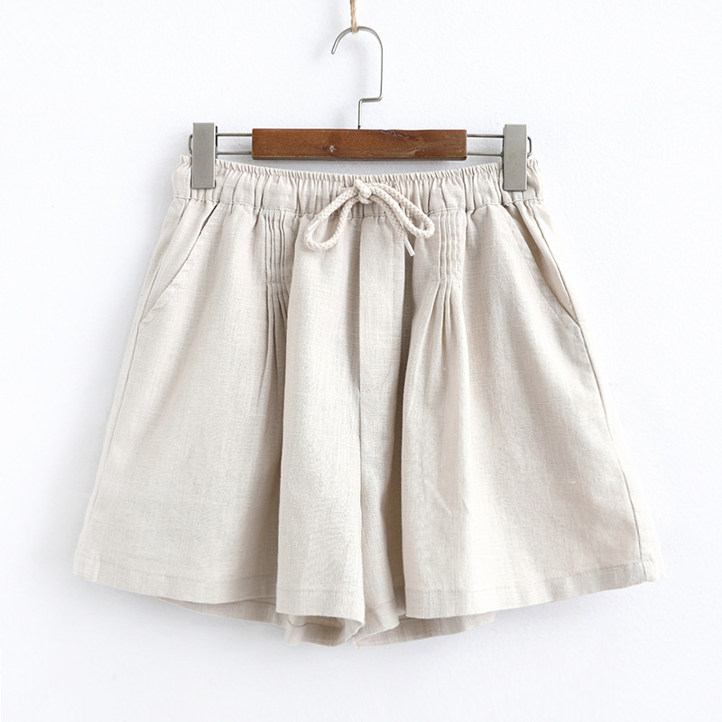Casual Summer Shorts Solid Color Wide Leg Pants Loose Elastic Waist Korean Style Comfortable Lace-up Women Shorts