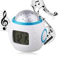 Wrumava音楽スター時計ナチュラルサウンド目覚まし時計クリエイティブカラー光投影クロック睡眠電子時計マルチfunctio