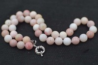 pink opal round 10mm necklace 18inch wholesale beads nature FPPJ woman 2017