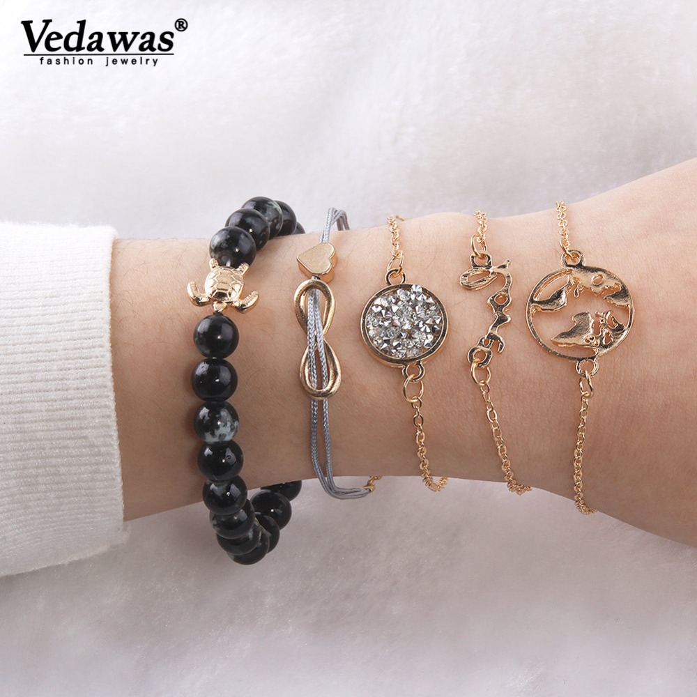 Vedawas Punk Charm Bracelet Resin Beads Bracelets for Women Jewelry Pulseras Mujer Moda 2019 Merry Christmas Bijoux xg2290 bracelet
