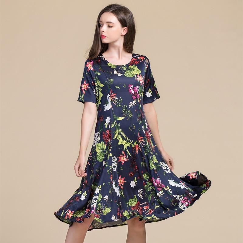 Summer Women Dress 100% Real Silk Dress Short Sleeve Mid-calf O-neck Mid-waist Silk Knitting Loose Dress