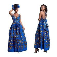2019 Fashion Women Traditional African Print Dashiki Dress Multiway Wrap Slit Bandage Maxi Dress Evening Party Dress Infinity