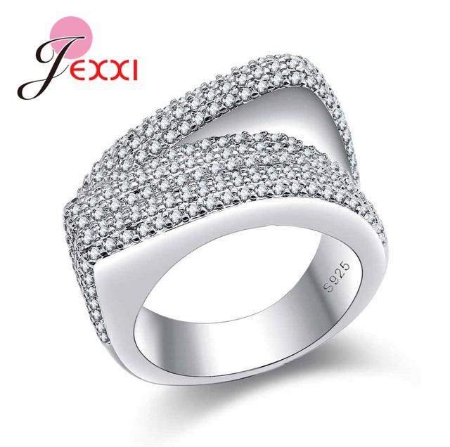 JEXXI High Quality Clear Cubic Zircon Crystal Women Wholesale Genuine S90 Silver