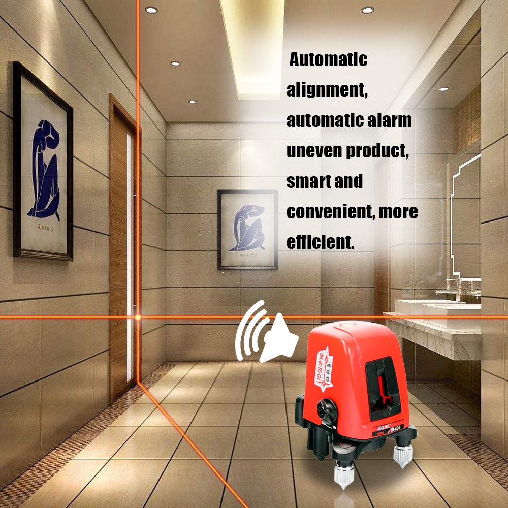Uso doméstico de láser cruzado Línea 2 Línea 1 punto Horizonatal Vertical línea roja nivel láser Mini portátil 360 grados