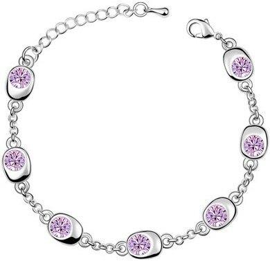 Подарок на день рождения, высокое качество, 7 бусин, Звездные глаза, браслеты с кристаллами, модные ювелирные изделия, 12 цветов, милые Подвески для женщин - Окраска металла: silver violet