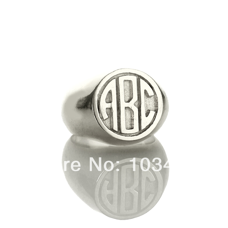 все цены на AILIN Personalized Engraved Monogram Rings Customized 3 Circle Block Monogrammed Initials Silver Ring 0.59
