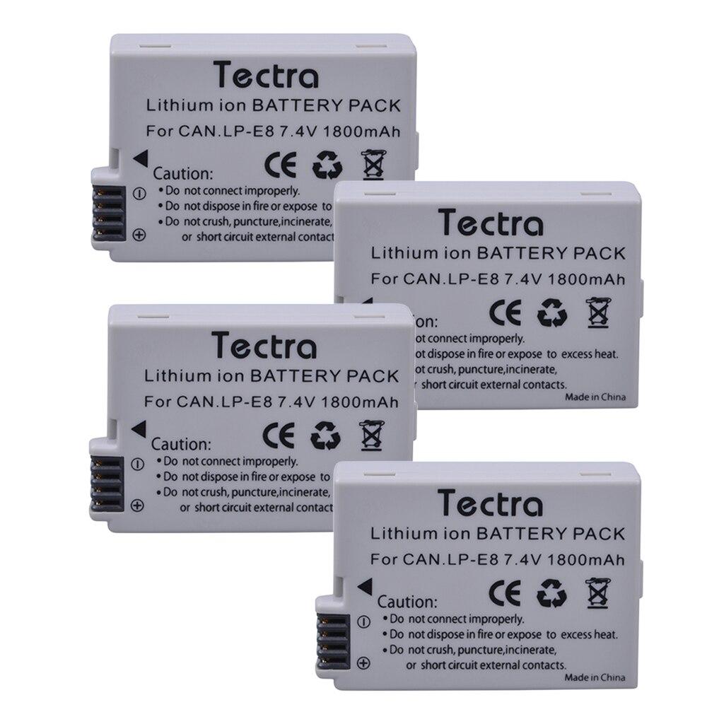 4 pièces 1800 mAh LP-E8 LP E8 Batterie + USB 2 Canaux Chargeur pour appareil photo Canon LP-E8 LP E8 LPE8 EOS 550D 600D 650D 700D Baiser X4 X5 X6i X7i - 3