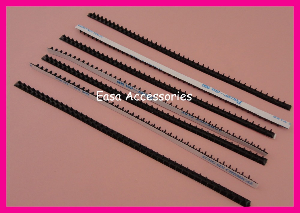 20PCS 5mm*18.0cm Adhesive Black Rubber Two Rows Headband Teeth, Lined Headbands Self-stick Rubber Hairband Comb Teeth Korea Item 6pcs black full teeth plain metal comb hair headbands with 80 piece 37mm high teeth bargain for bulk