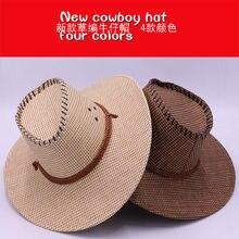 090dde6b3d446 Casual Fashion Straw Hat Sunscreen Men s Anti-Western Cowboy Beach Visor UV  protection Hat(