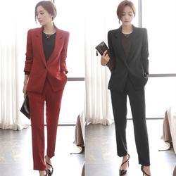 Новые модные женские однотонные повседневные единой пряжки женская костюм из двух Костюм из нескольких предметов (куртка + Штаны) женские