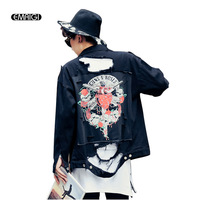 Autumn Winter New Men Back Patchwork Broken Hole Black Denim Jacket Male Hip Hop Casual Outerwear