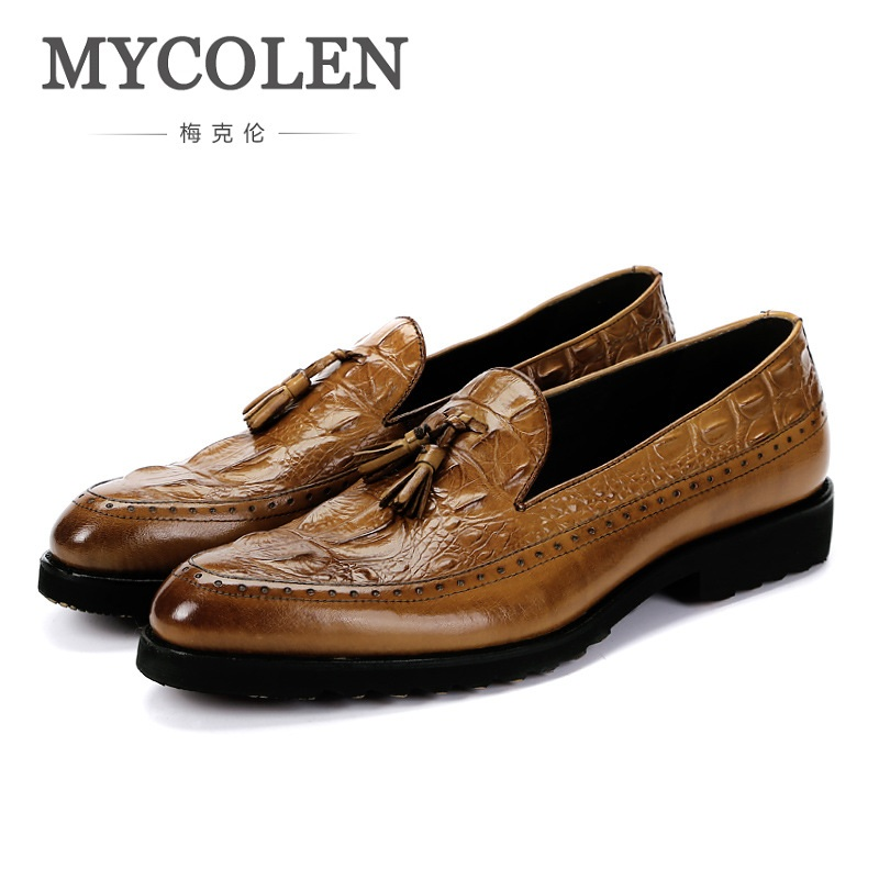 MYCOLEN Hot Sale Spring Stylish Loafers Genuine Leather Slip On Spring Driving Black Brown Alligator Men Casual Shoes new 2017 men s genuine leather casual shoes korean fashion style breathable male shoes men spring autumn slip on low top loafers