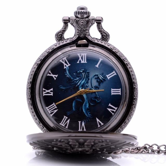 Game of Thrones House Lannister Lion Color Quartz Pocket Watch Analog Pendant Ne