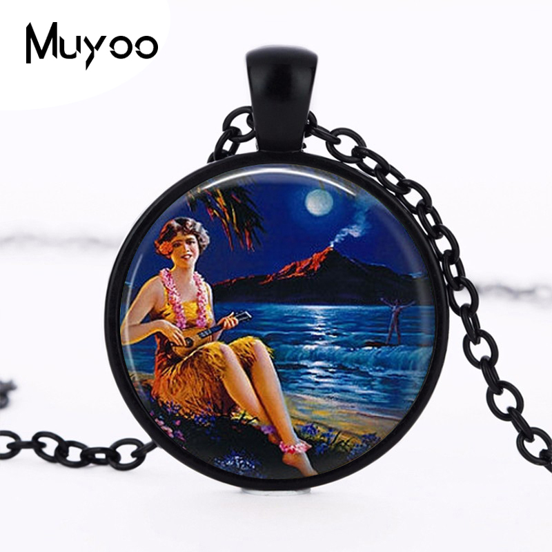 Handmade Fine Jewelry Silver Plated Chain Glass Dome Pendant Hawaiian Hula Girl with Ukelele and Surfer Necklace Pendant HZ1